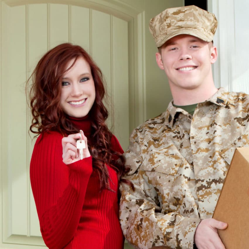 American Marine Corps soldier and family moving into new home.