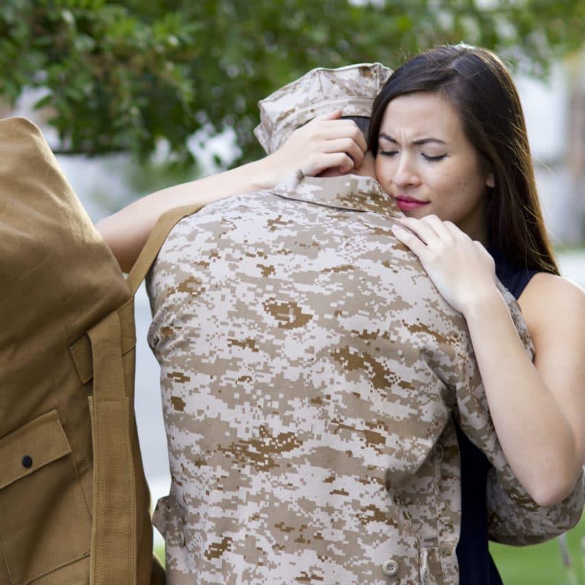 Military man says goodbye.