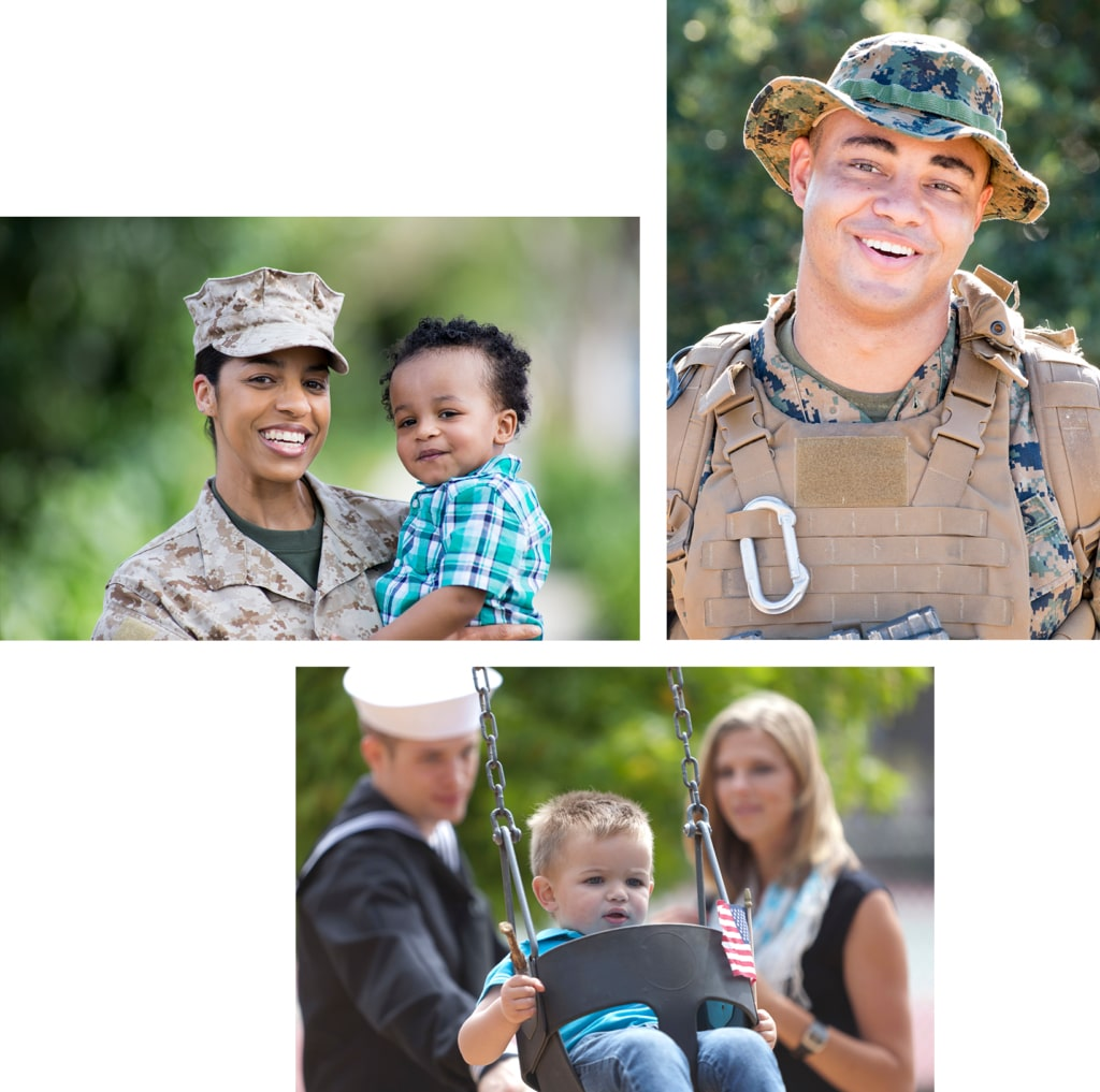 Three images of military members and their families